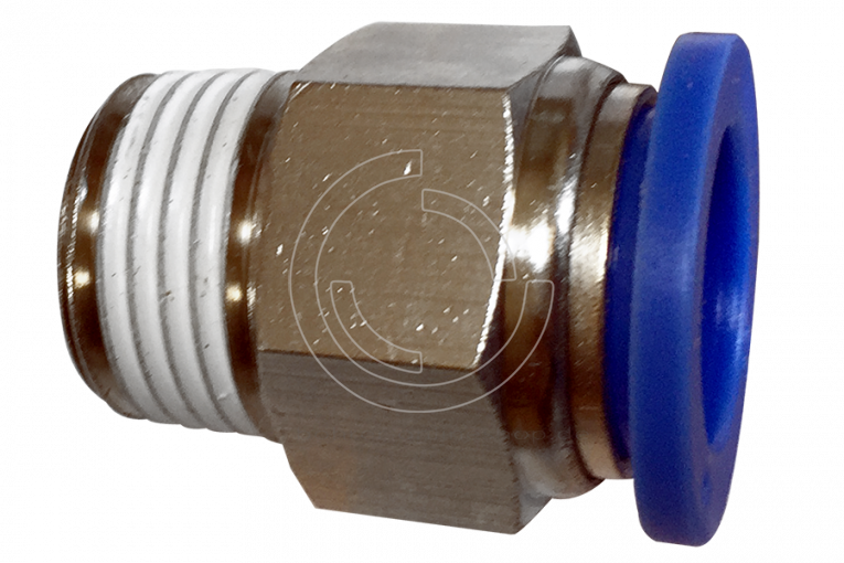 Pneumatic male straight connector push in fitting (PC) Ø 14mm with thread BSPT